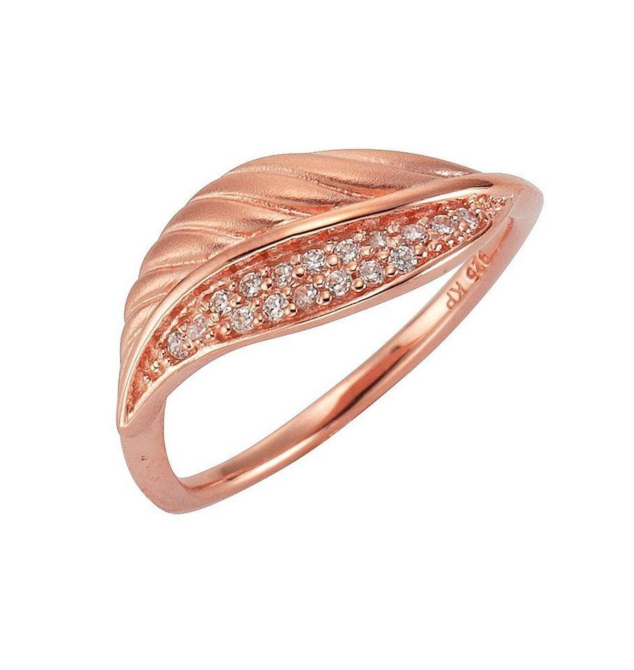 firetti Ring »Feder« mit Zirkonia in Silber 925/roségoldfb. vergoldet