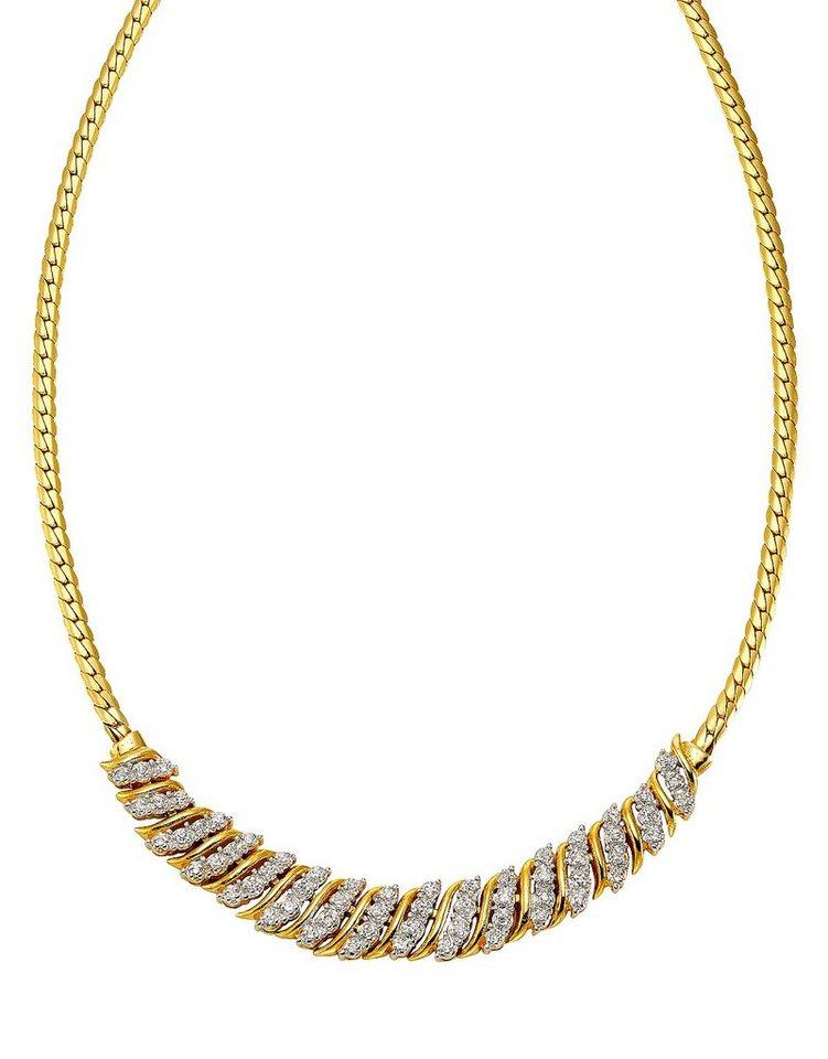 firetti Halsschmuck: Halskette / Collier mit Zirkonia in Silber 925/überwiegend goldfb. vergoldet