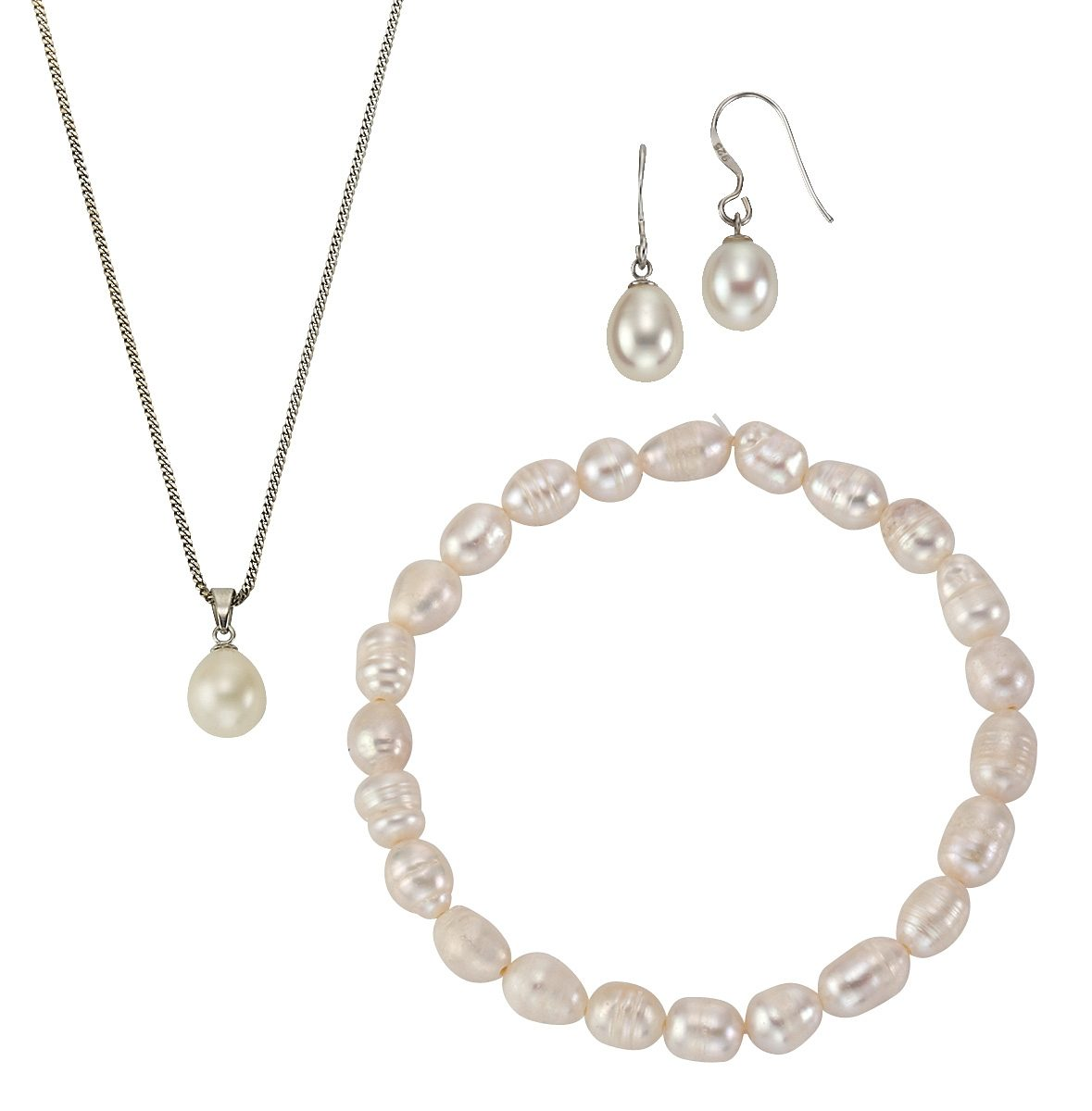 """firetti Schmuckset: Halskette, Armband und Ohrhaken """"Perle""""(Set, 5 tlg.)"""