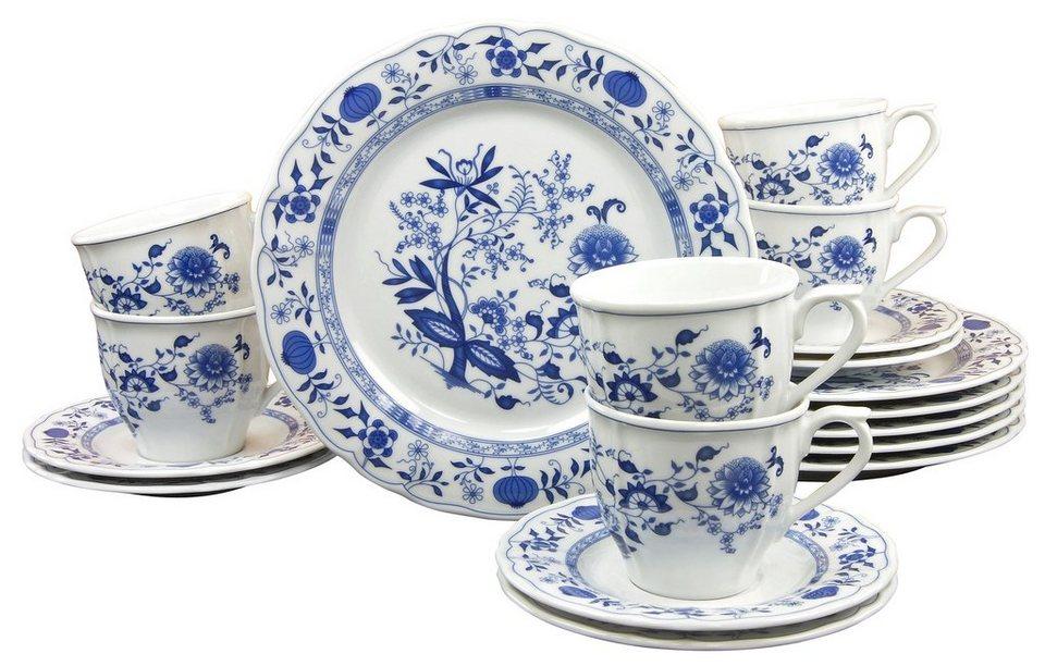 CreaTable Kaffeeservice, Porzellan, 18 Teile, »Zwiebelmuster« in blau
