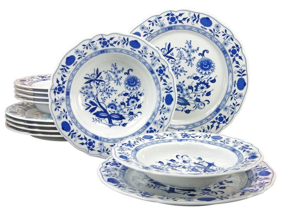CreaTable Tafelservice, Porzellan, 12 Teile, »Zwiebelmuster« in blau