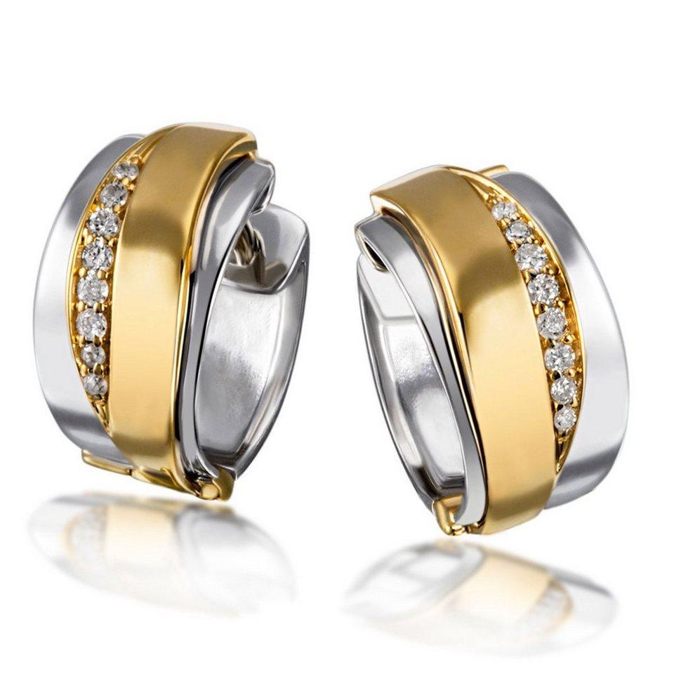 goldmaid Paar Creolen 925/- Sterlingsilber mit 585/- Gelbgoldanteil 16 Br in Bicolour
