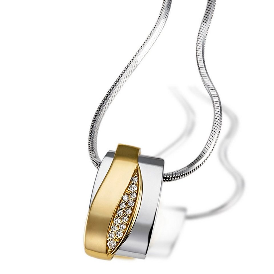 goldmaid Collier 925/- Sterlingsilber mit 585/- Gelbgoldanteil 15 Brillan in Bicolour