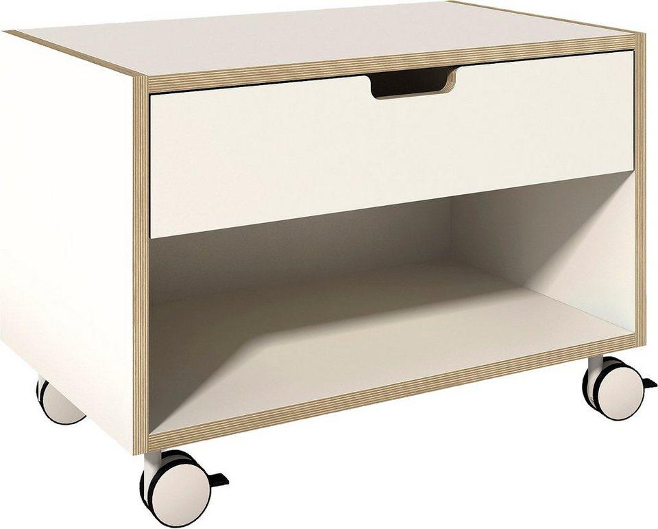 müller möbelwerkstätten Nachttisch auf Rollen in weiß mit Birkenkante