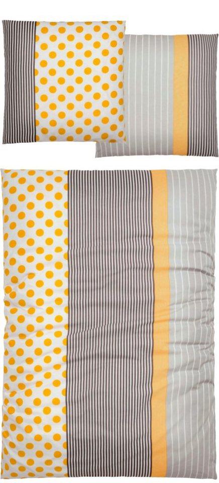 Bettwäsche, my home, »Bobby«, mit Streifen und Punkten in grau-gelb