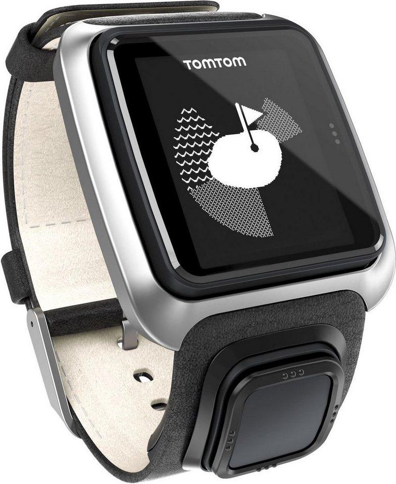 TomTom GPS-Uhr »GOLFER Premium Pack (Leder )« in Schwarz-Silber
