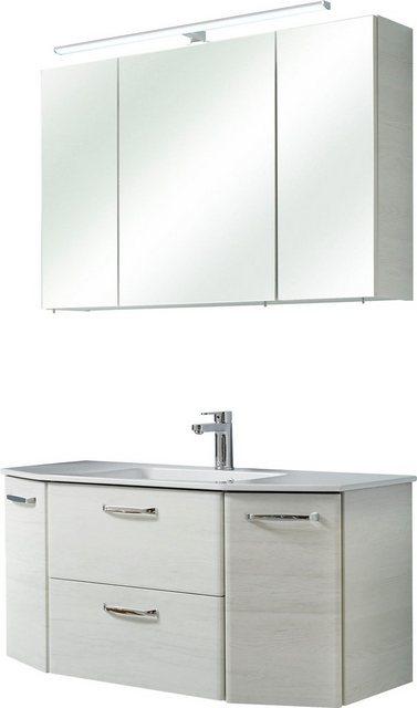 Badezimmer Sets - PELIPAL Badmöbel Set »Amora«, (Set, 2 St), Spiegelschrank inkl. LED Beleuchtung, Waschtisch Kombination mit Keramikbecken, Metallgriffe, Türdämpfer  - Onlineshop OTTO