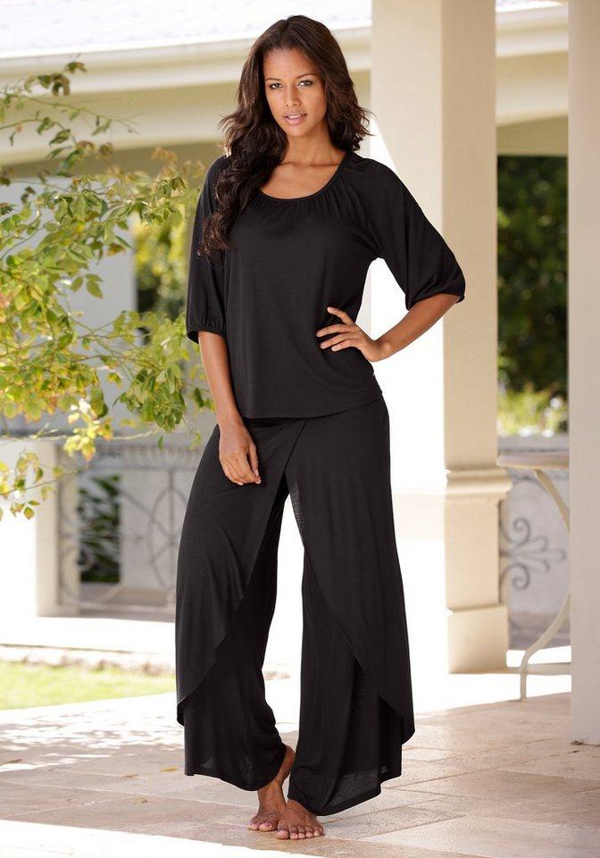 LASCANA Pyjama in edler Layeroptik in schwarz