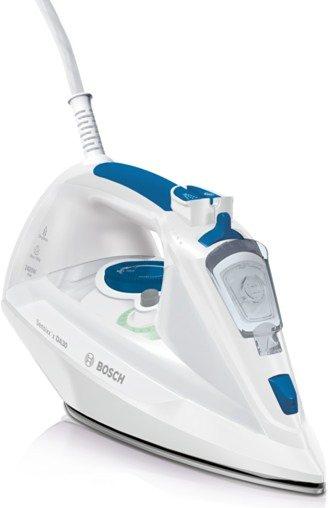 Bosch Dampfbügeleisen Sensixx'x DA30 TDA302401W, CeraniumGlissée Bügelsohle, 2400 Watt in weiß / smokey blue