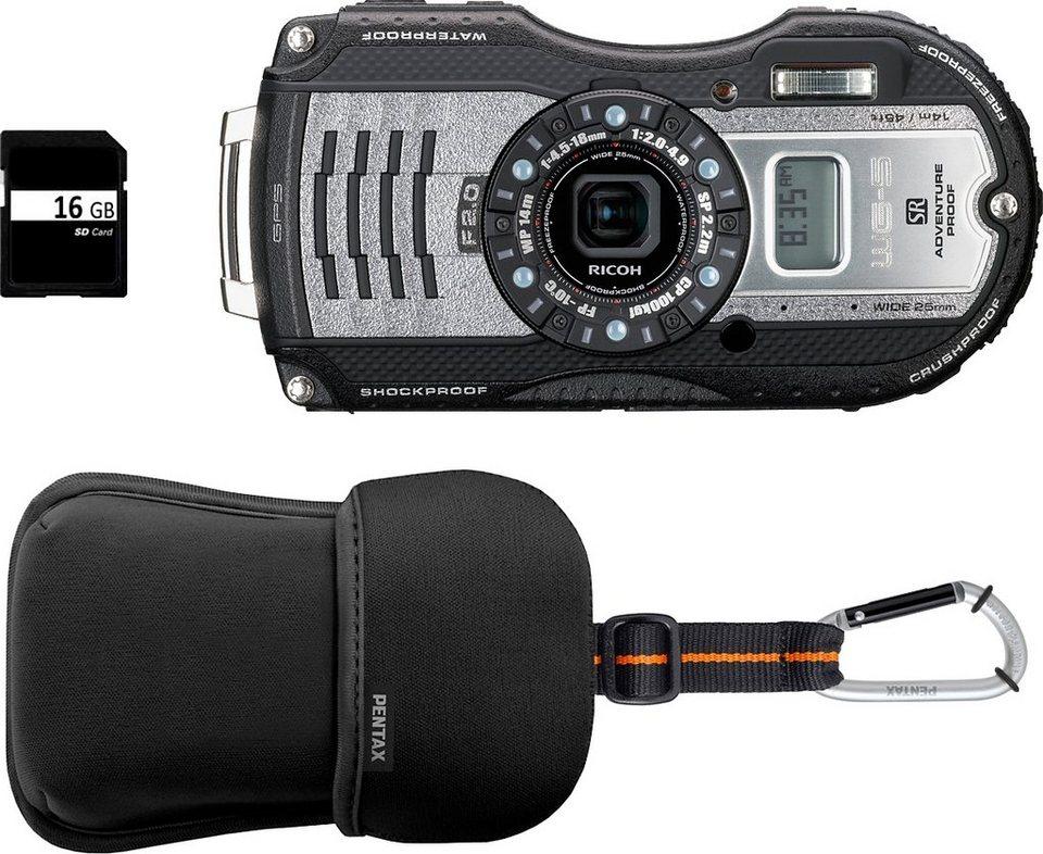 ricoh wg 5 gps outdoor kamera inkl tasche 16 gb 16. Black Bedroom Furniture Sets. Home Design Ideas