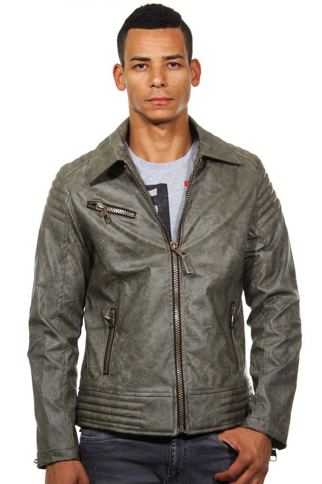 CATCH Kunstleder Jacke slim fit in khaki