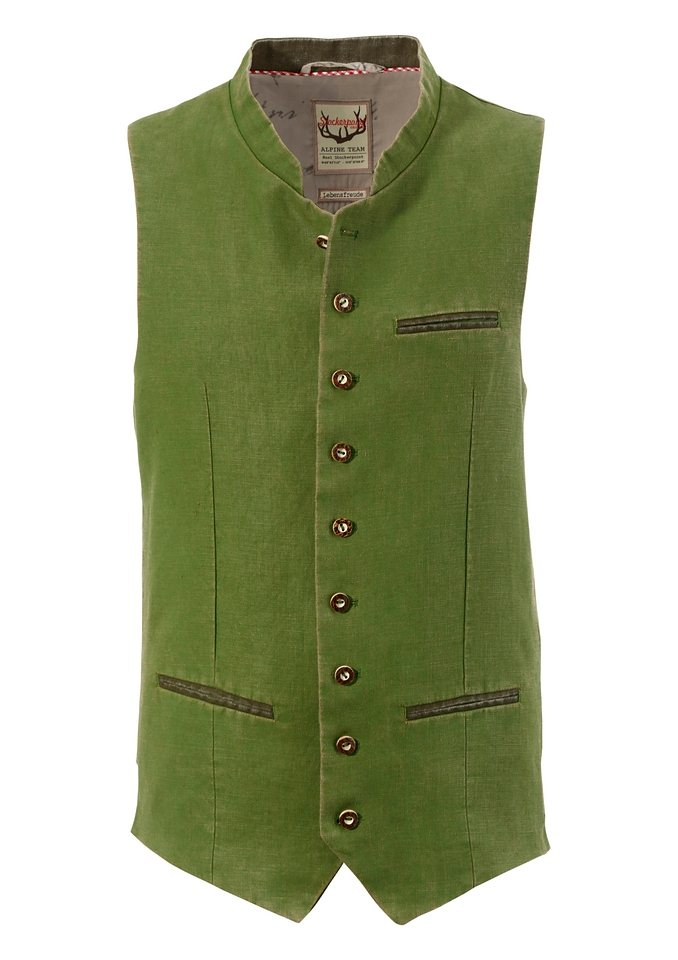 Stockerpoint Trachten-Gilet Herren mit bedrucktem Innenfutter in grün