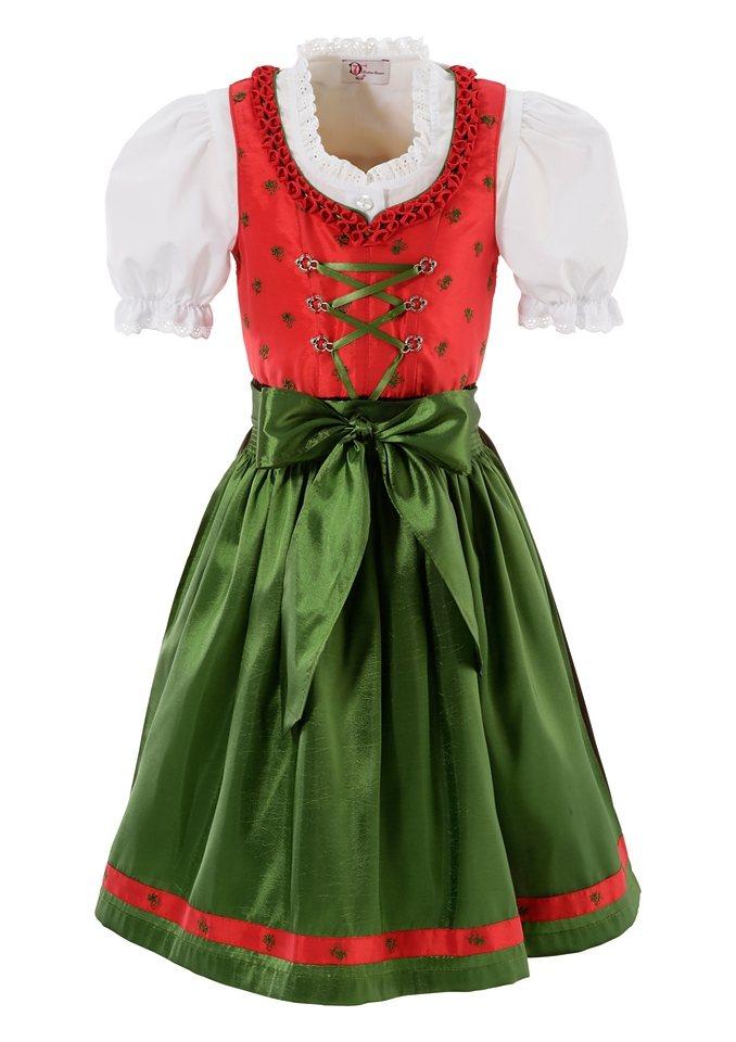 Turi Landhaus Dirndl Kinder mit Schnürung, (3tlg.) in rot/grün