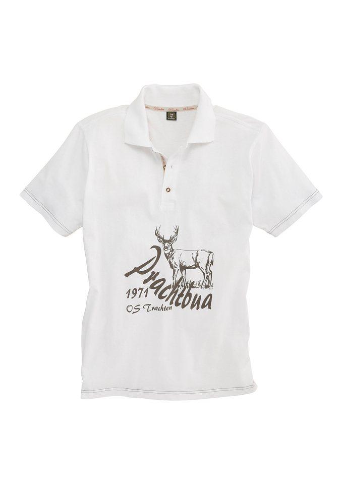OS-Trachten Trachten-Poloshirt Herren in weiß