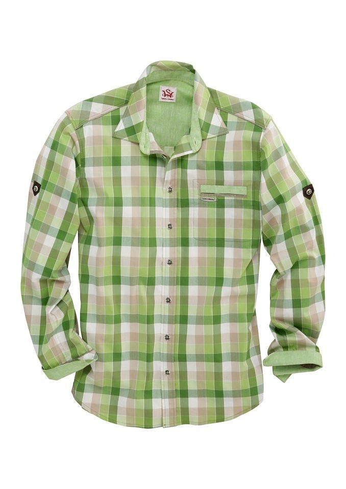 Spieth & Wensky Trachtenhemd kariert in grün/sand