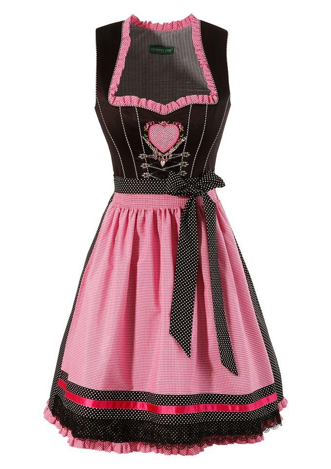 Country Line Dirndl midi mit Satinbandschnürung in schwarz/pink