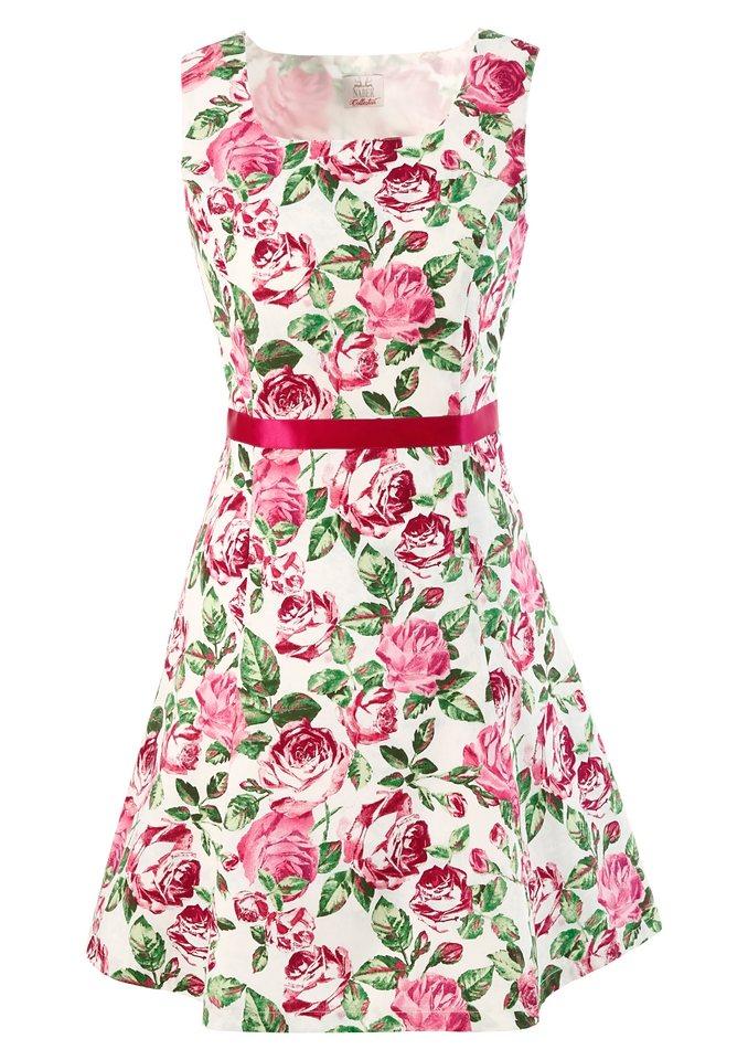 Trachtenkleid mit Rosendruck in natur/pink
