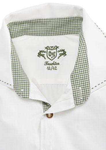 OS-Trachten Trachtenhemd mit grünen Ziersteppnähten
