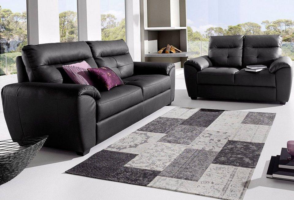 Softline Garnitur, bestehend aus 3-Sitzer und 2-Sitzer in schwarz