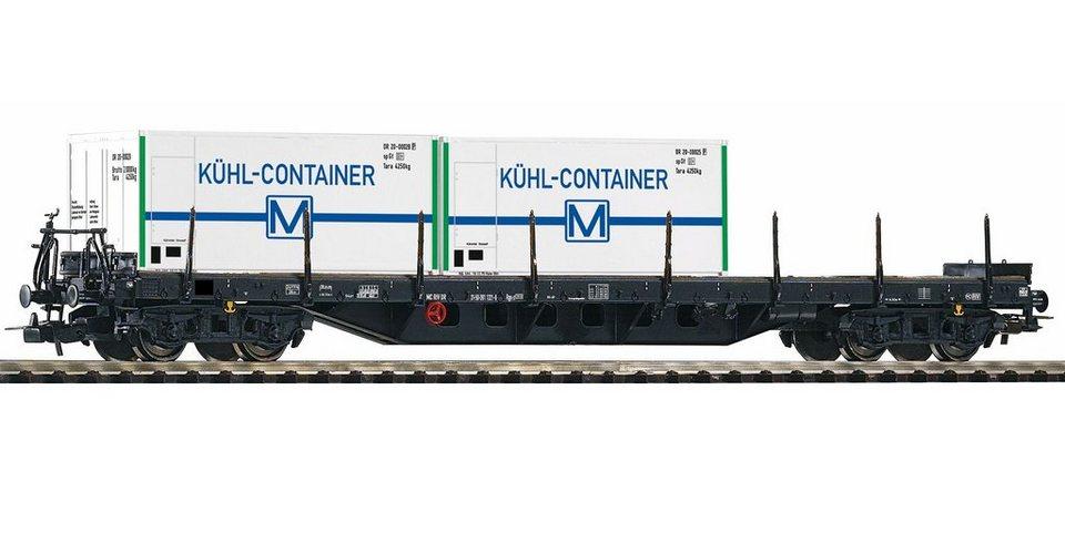 PIKO Güterwagen, »Flachwagen Rgs3910 mit 2 Kühlcontainern, DR - Gleichstrom«, Spur H0 in weiß