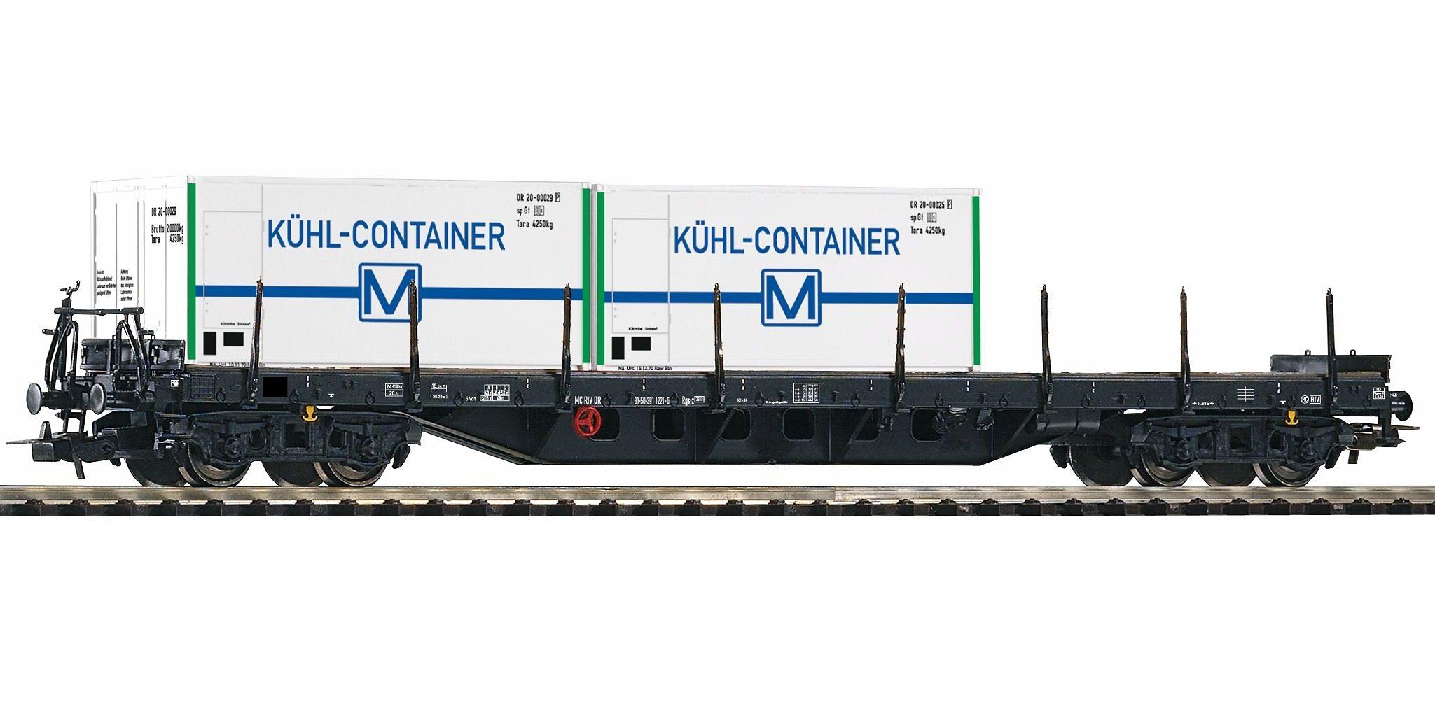 PIKO Güterwagen, »Flachwagen Rgs3910 mit 2 Kühlcontainern, DR - Gleichstrom«, Spur H0