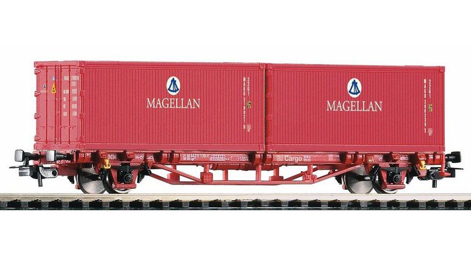 PIKO Güterwagen, »Containerwagen Lgs579, 2 Container Magellan, DB AG - Gleichstrom« Spur H0 in rot