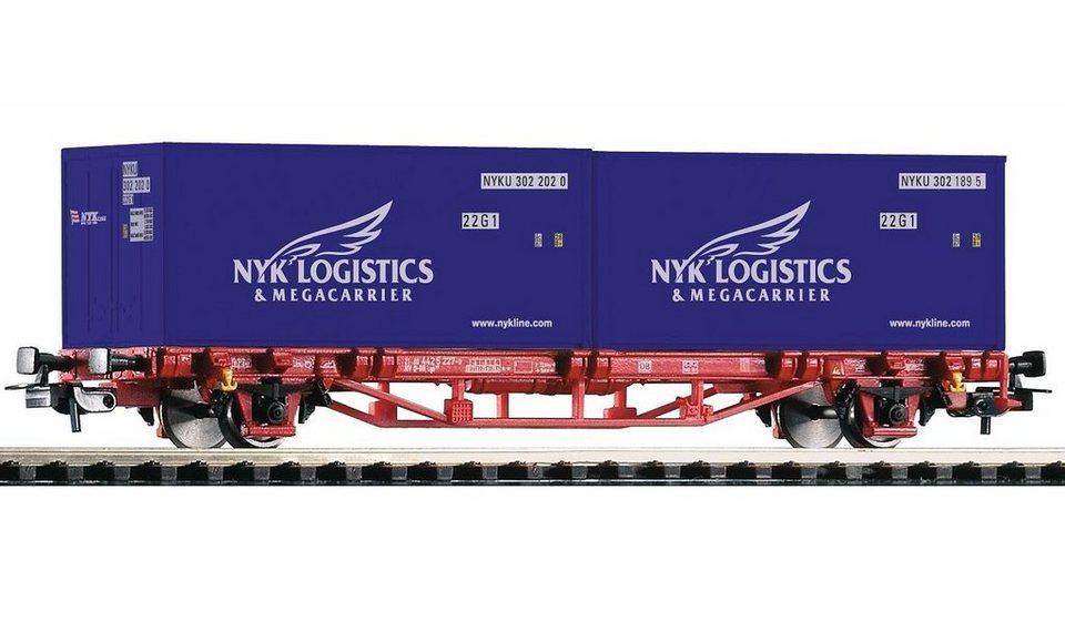 PIKO Güterwagen, »Containerwagen Lgs579, 2 Container NYK, DB AG - Gleichstrom« Spur H0 in rot/blau