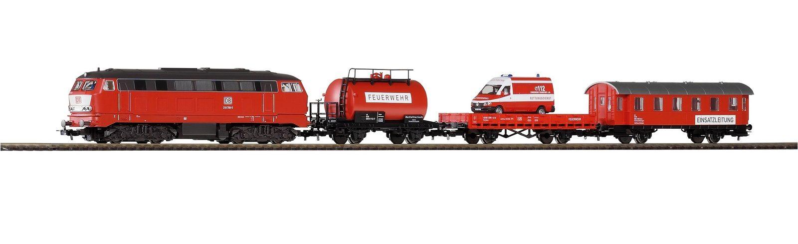 PIKO Modelleisenbahn Startpaket, »Start-Set Feuerwehr - Gleichstrom« Spur H0 - broschei