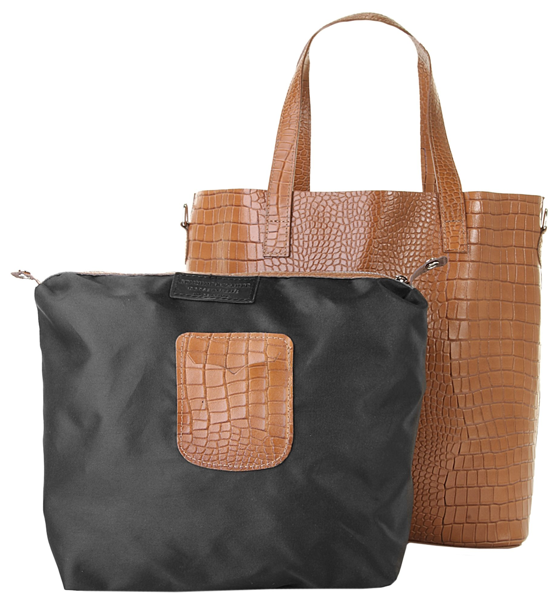 Samantha Look Leder Damen Shopper Crocoprägung