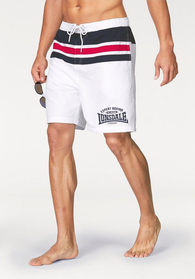 Lonsdale Shorts in Weiß-Blau-Rot