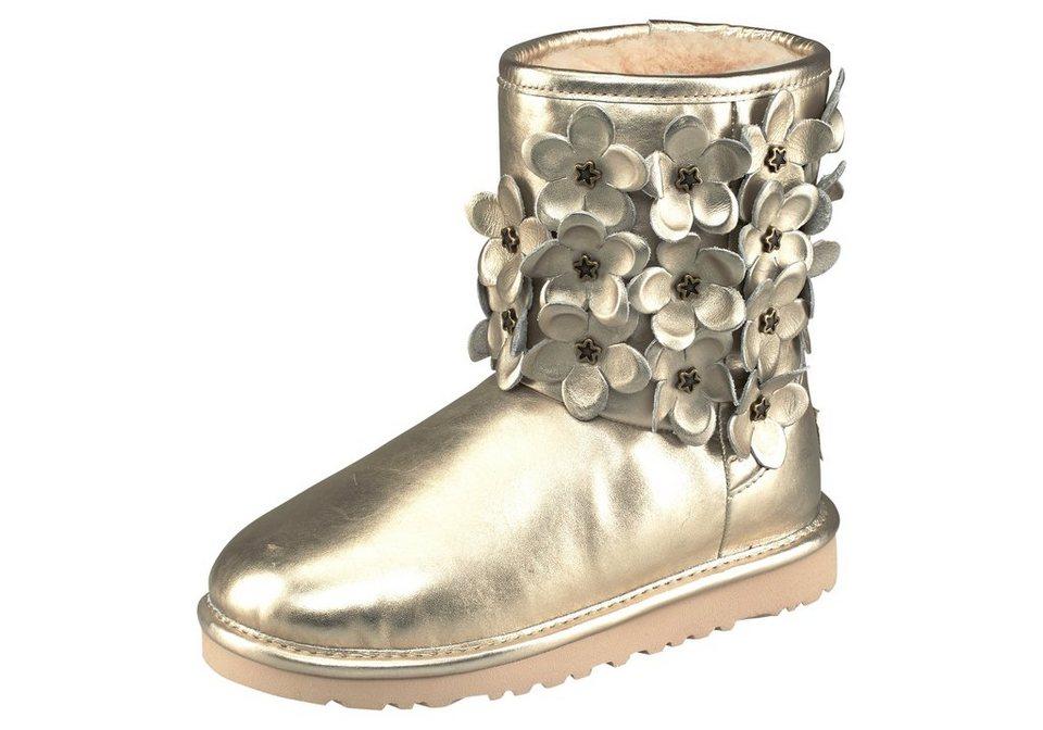 UGG Stiefel »Classic Short Flora« in goldfarben