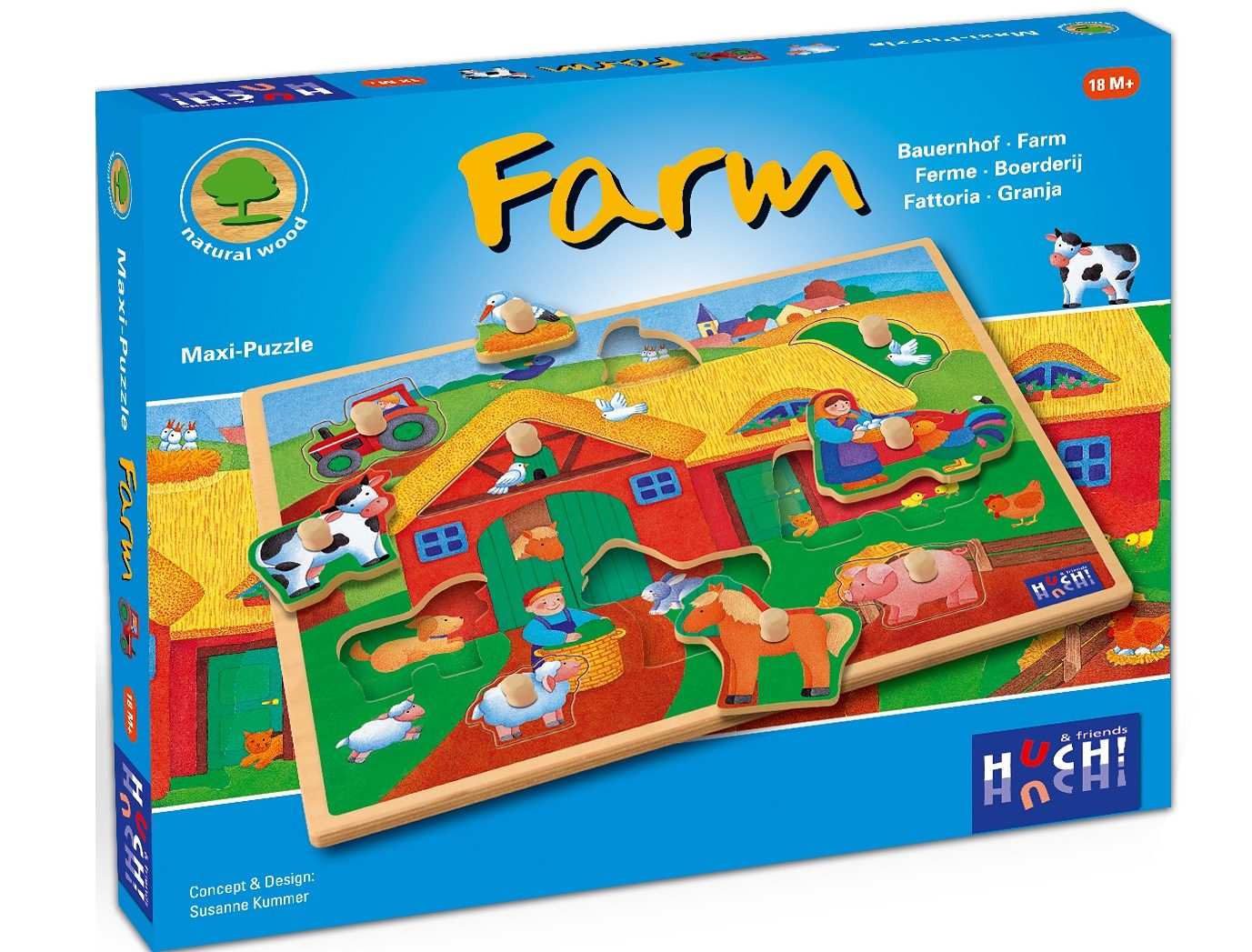 Huch! & friends Puzzle, 9 Maxi-Teile, »Wooden Line Farm«
