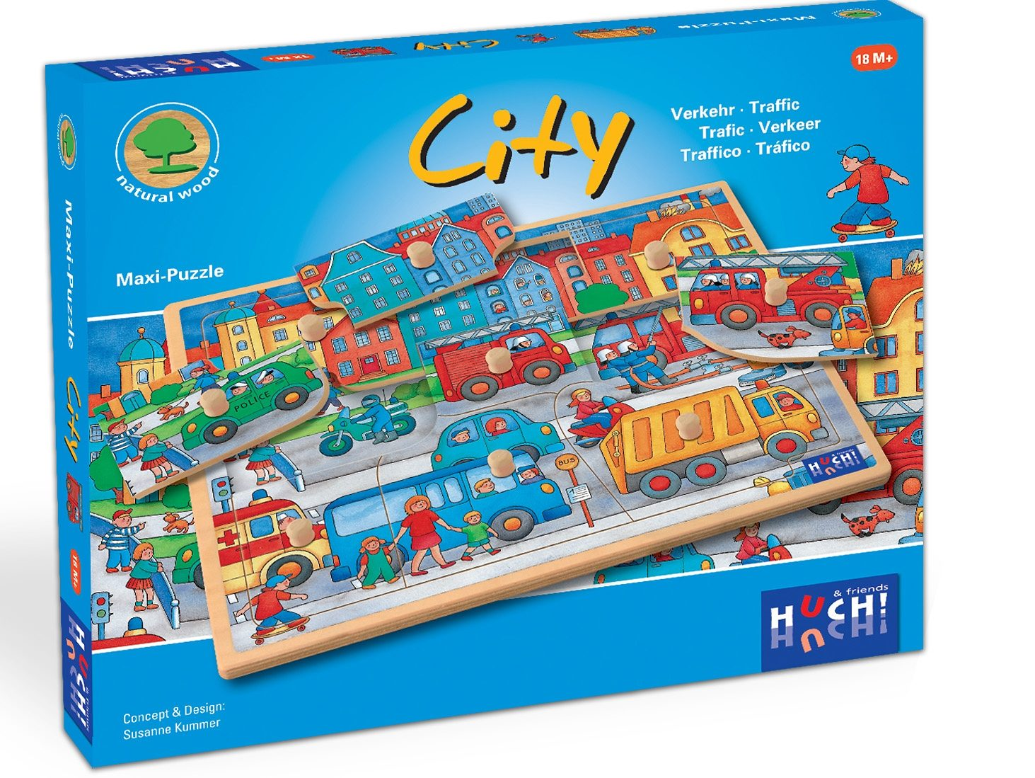 Huch! & friends Puzzle, 9 Maxi-Teile, »Wooden Line City«