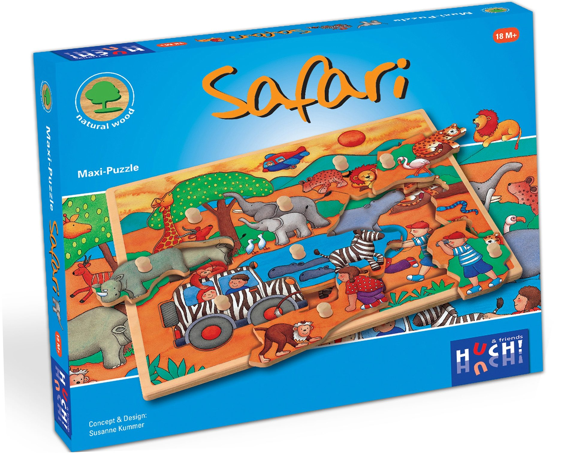 Huch! & friends Puzzle, 9 Maxi-Teile, »Wooden Line Safari«