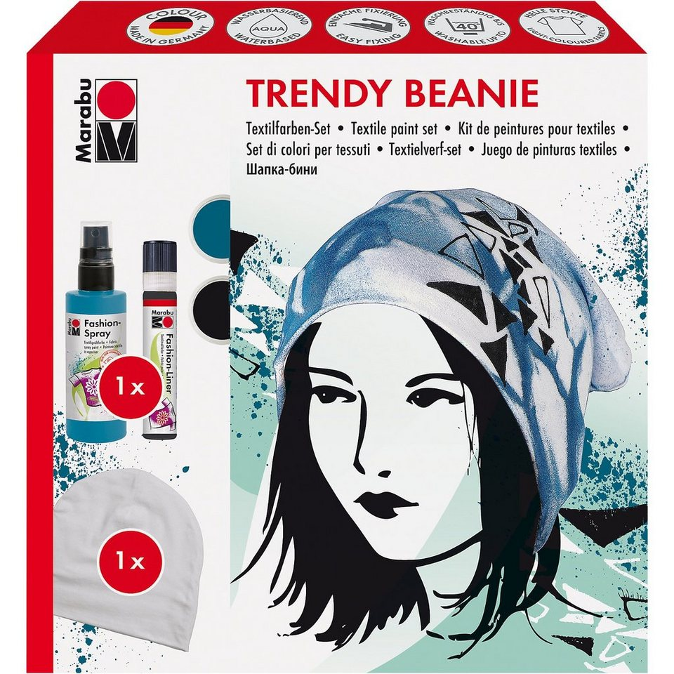 Marabu Fashion-Spray Trendy Beanie Textilfarben-Set, 3-tlg.