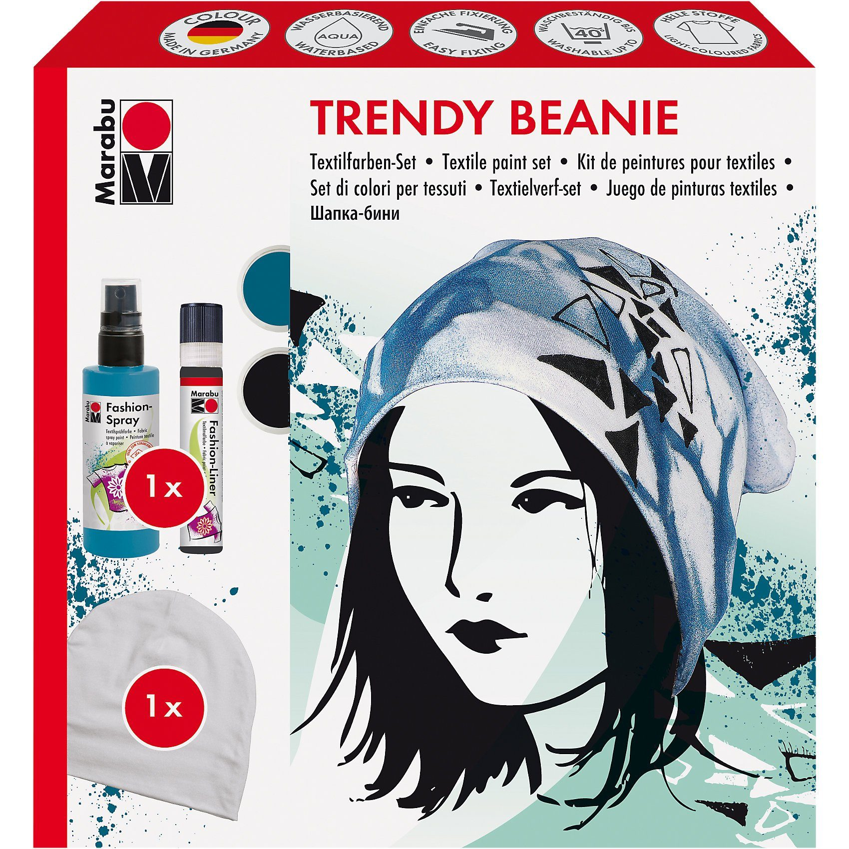 Marabu Fashion-Spray Trendy Beanie Textilfarben-Set, 3-tlg.