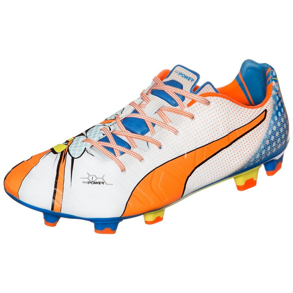 PUMA evoPOWER 1.2 Graphic Pop FG Fußballschuh Herren in weiß / orange / blau
