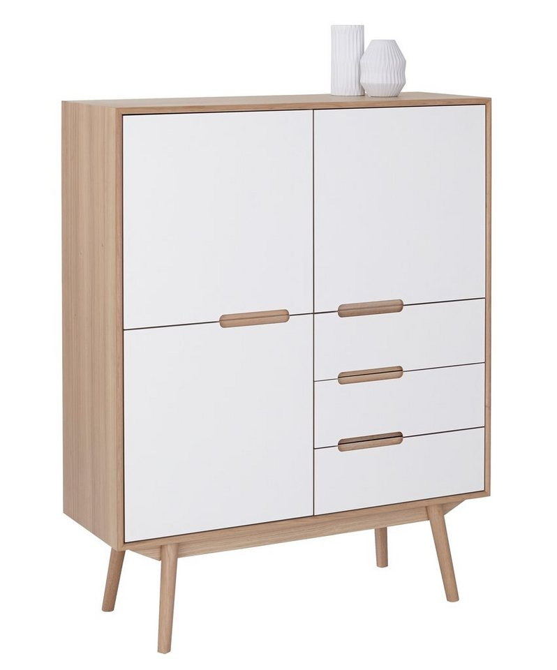 andas Highboard »Curve«, white oak im nordischen Design in Laminat weiß