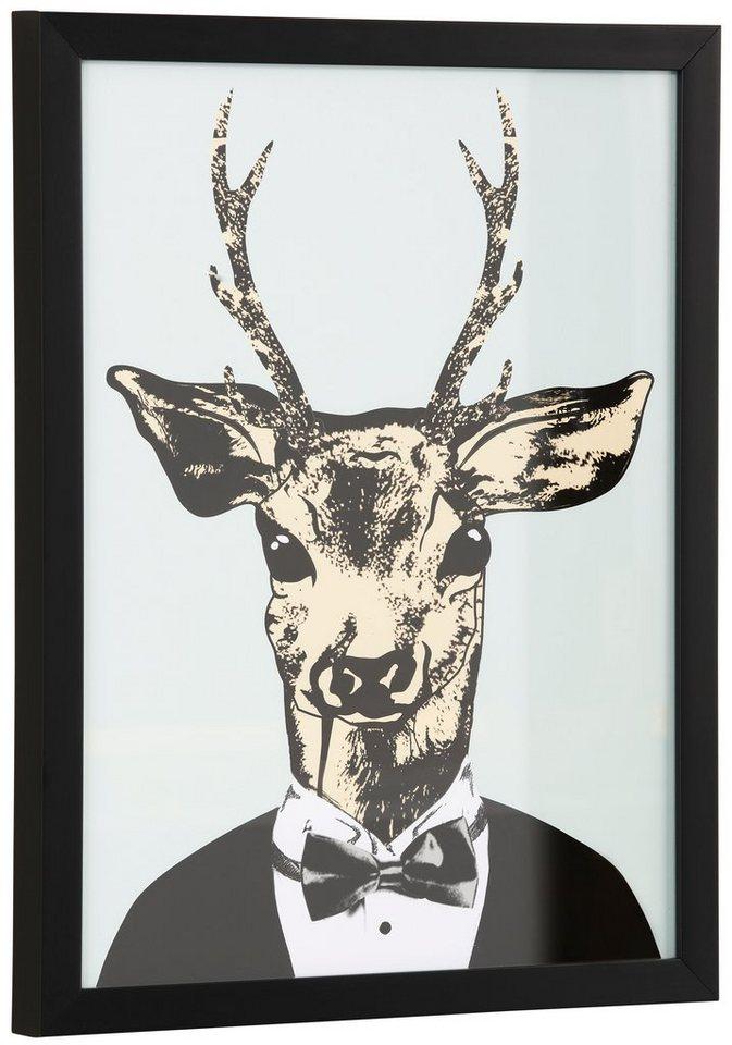 Home affaire gerahmter Kunstdruck »Reh in elegantem Anzug«, in 2 Größen in grün/schwarz