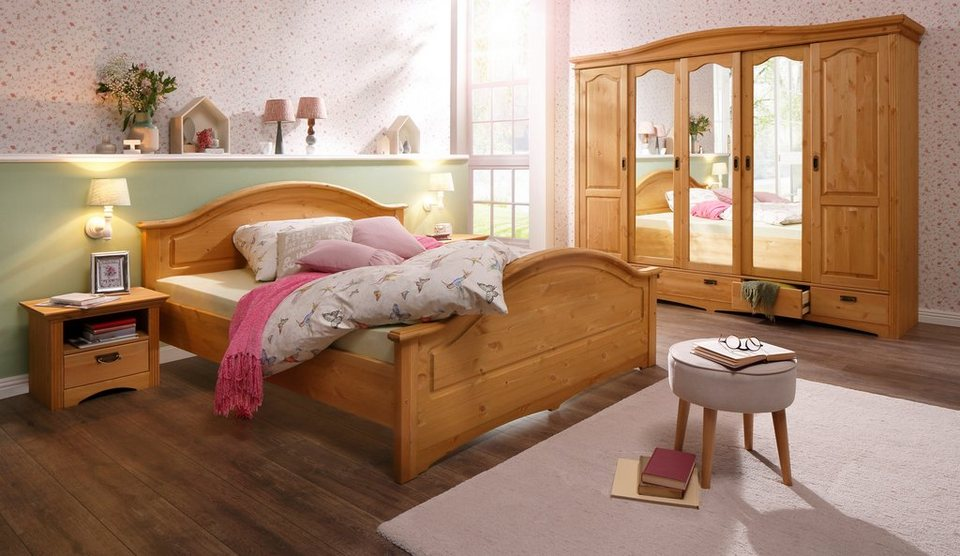 home affaire 4 tlg schlafzimmer set konrad mit 5 trg kleiderschrank bett 180 200 cm und 2. Black Bedroom Furniture Sets. Home Design Ideas