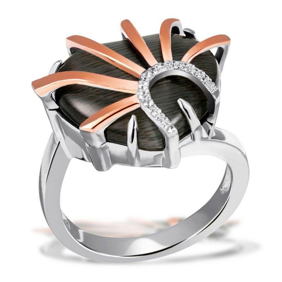 goldmaid Set Damenring 1 Glasstein grau in einer Form eines Herzens 925/- in Bicolour