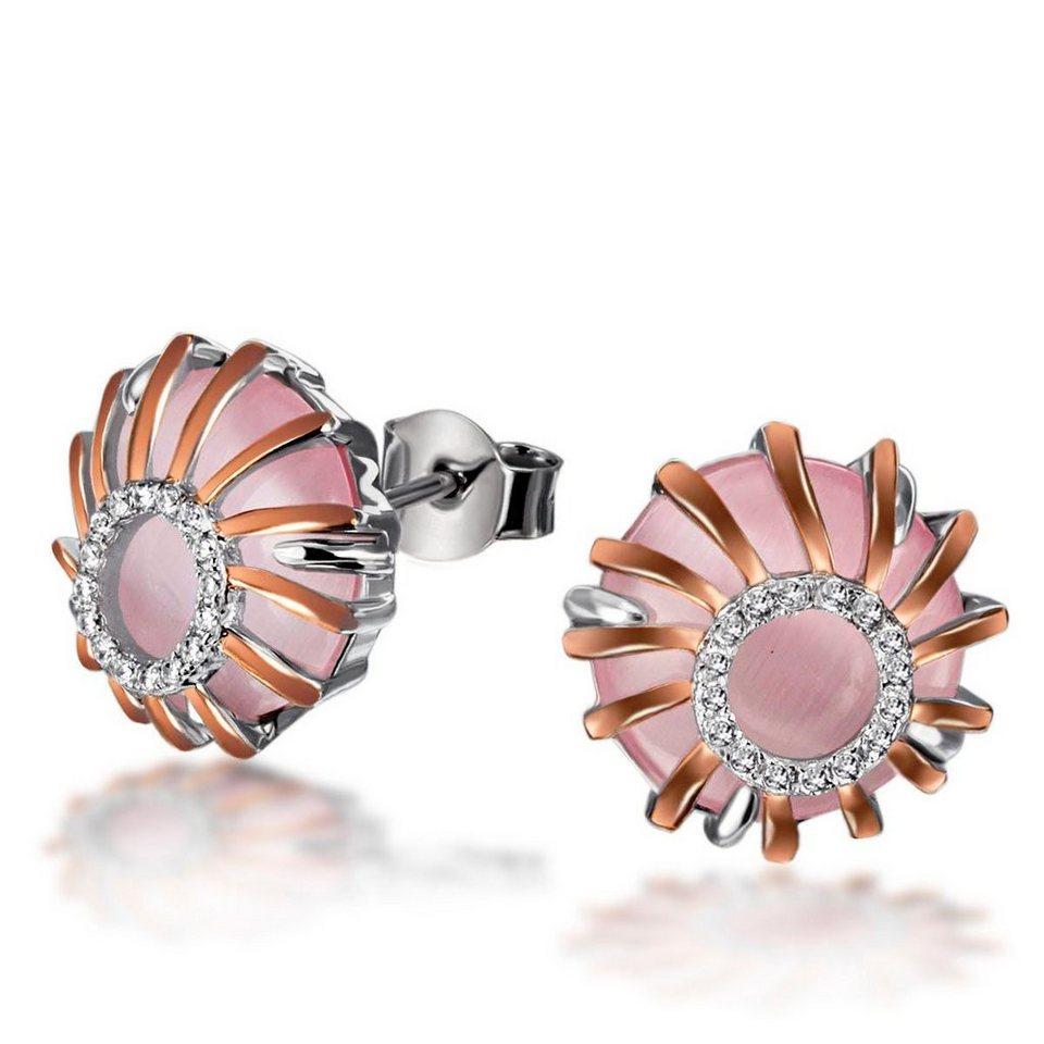 goldmaid Set Paar Ohrstecker 2 Glassteine rosa in runden Formen mit 32 we in Bicolour