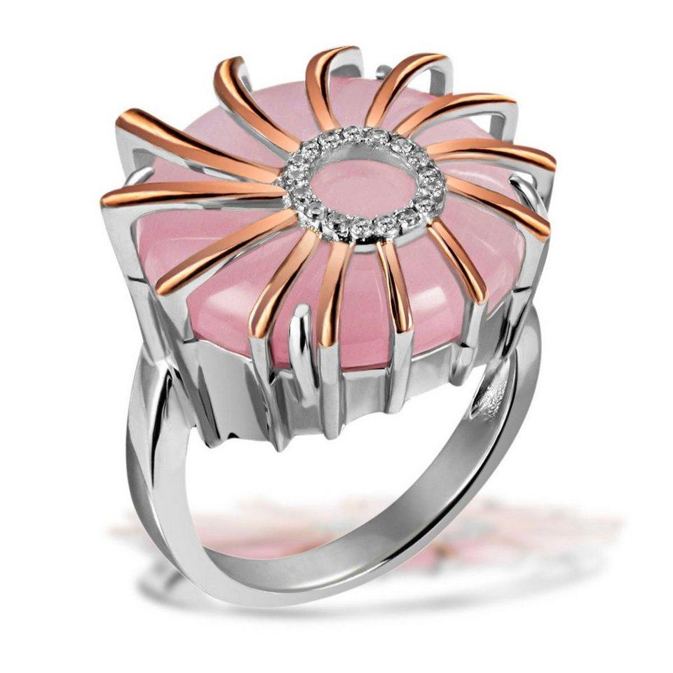 goldmaid Set Damenring 1 Glasstein rosa in runder Form 925/- Sterlingsilb in Bicolour