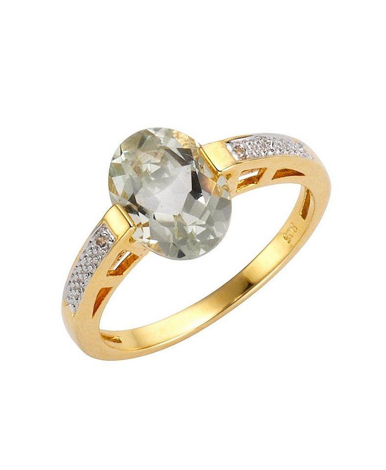 firetti Ring mit Amethyst und Weißtopas in Silber 925/überw. goldfb. vergoldet