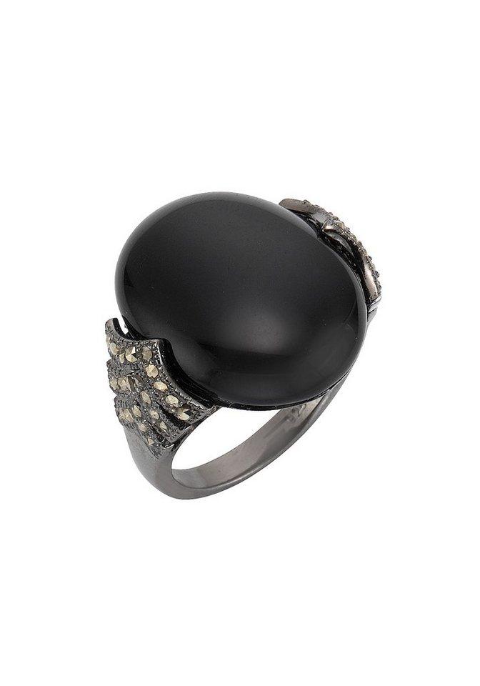 firetti Ring mit Obsidian und Markasit in Silber 925/schwarz