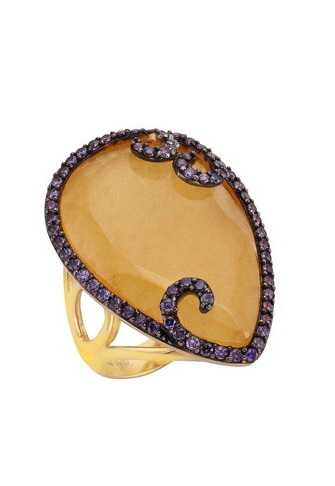 firetti Ring mit Calcit und Zirkonia in Silber 925/goldfb. vergoldet/orange/lila