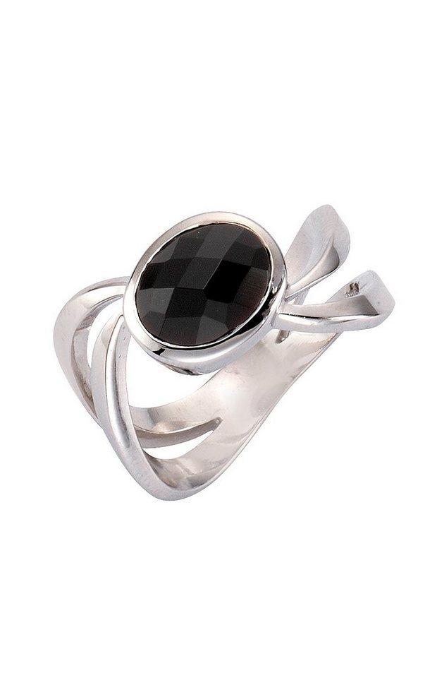 firetti Ring mit facettiertem Achat in Silber 925/schwarz