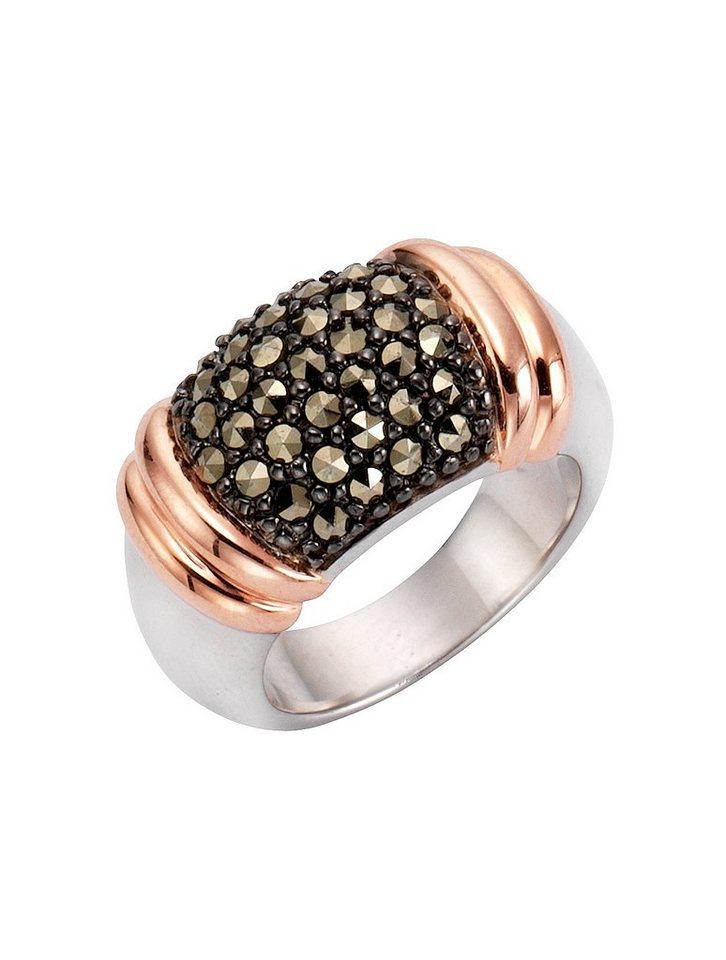 firetti Ring mit Markasit in Silber 925/schwarz/roségoldfb. verg./grau