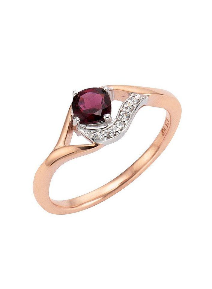 Vivance Ring mit Granat und Zirkonia in Silber 925/überw. roségoldfb. vergoldet/rot