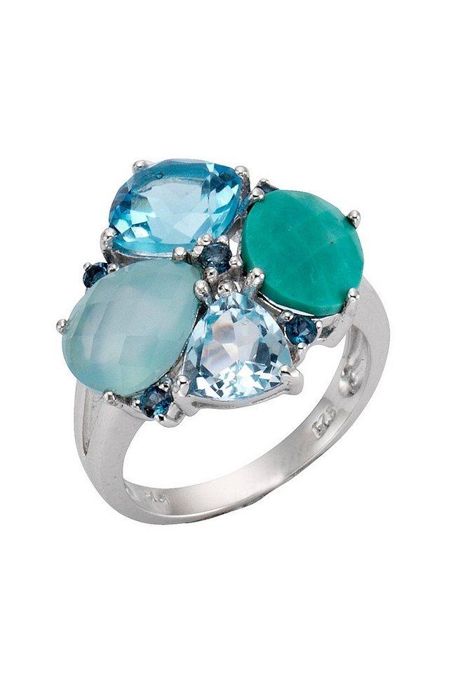 firetti Ring mit Blautopas und Türkis in Silber 925/blau